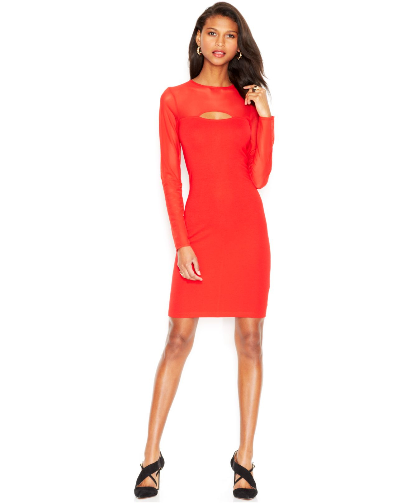 c44cecff Red Long Sleeve Mesh Dress | Saddha