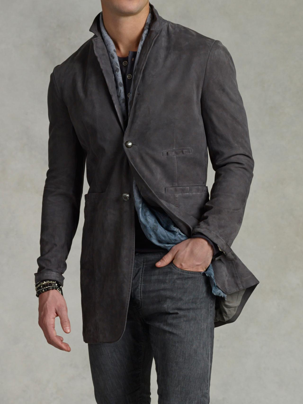 John varvatos Notch Lapel Leather Coat in Gray for Men