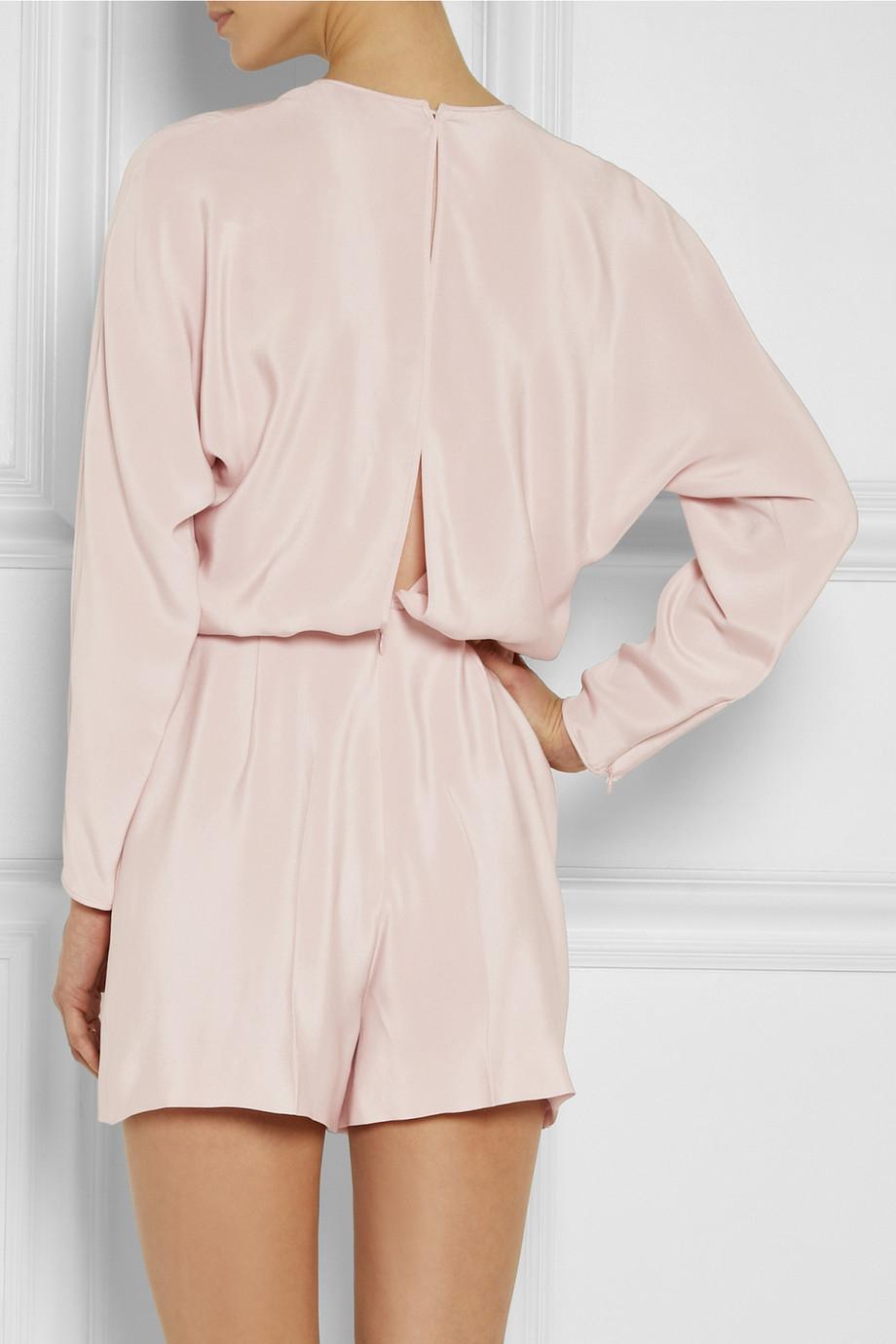 bb9cab52d763 Valentino Split-Back Silk Playsuit in Pink - Lyst