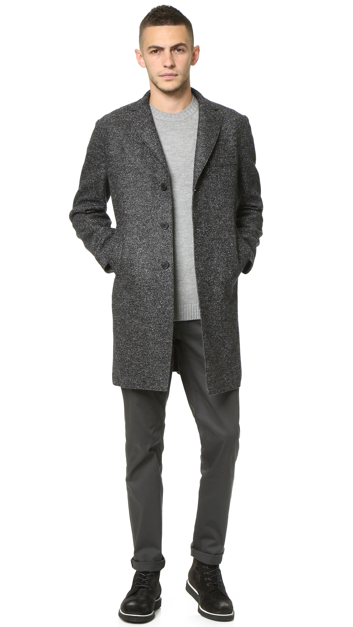 harris wharf london 3 button pressed wool boxy coat in black for men lyst. Black Bedroom Furniture Sets. Home Design Ideas