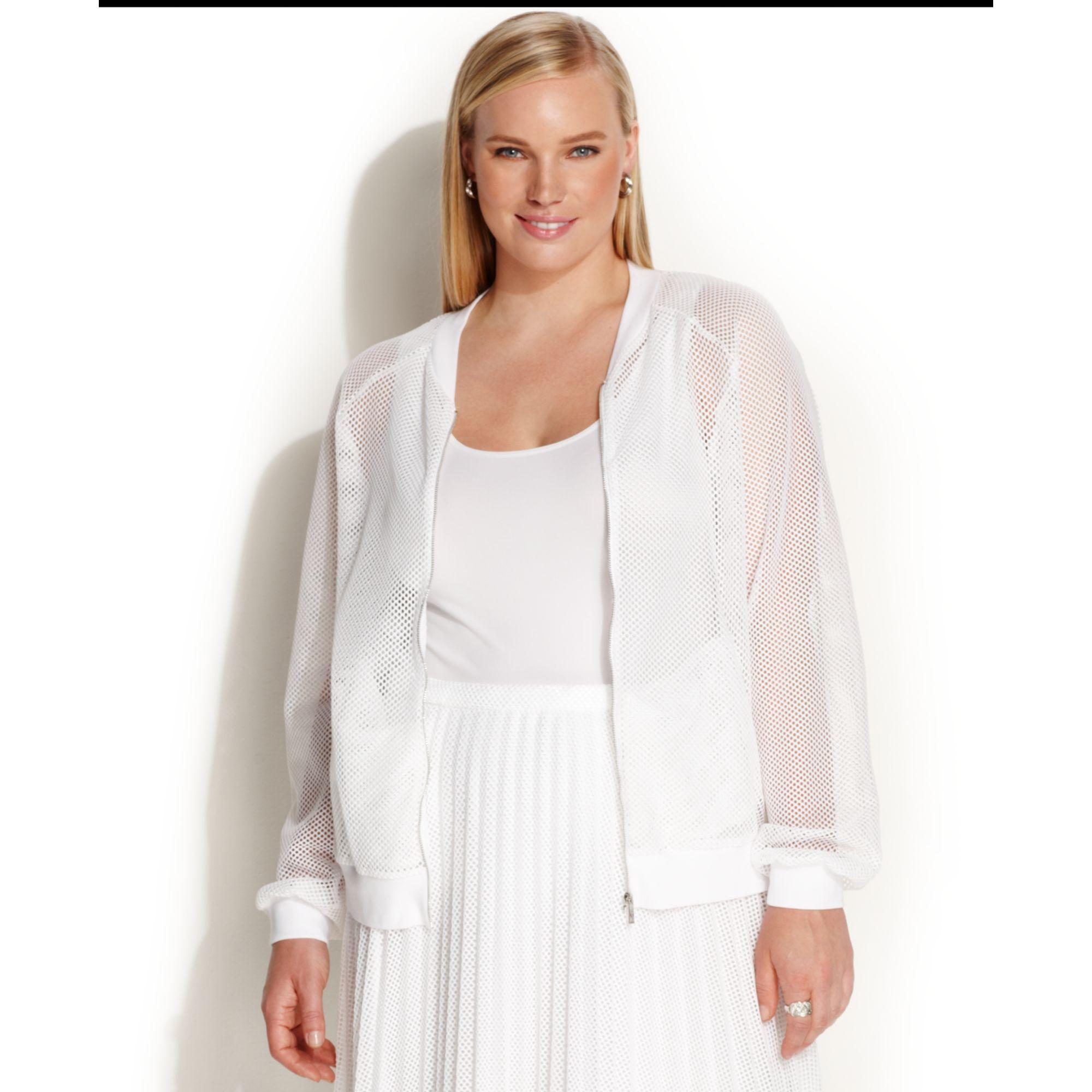 ca00e55cd8331 Lyst - Calvin Klein Plus Size Longsleeve Mesh Bomber Jacket in White