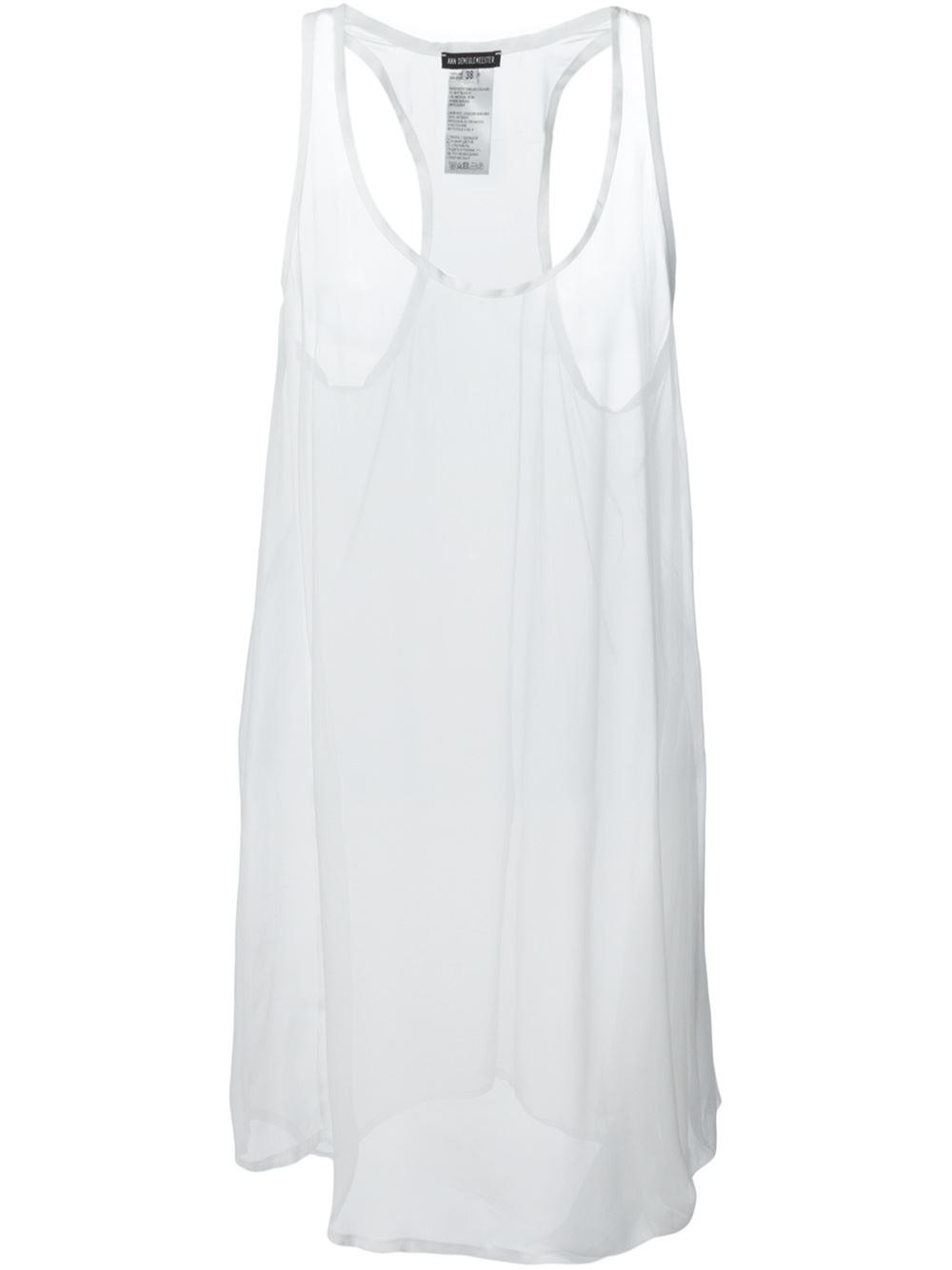 Ann demeulemeester Loose Fit Long Tank Top in White | Lyst