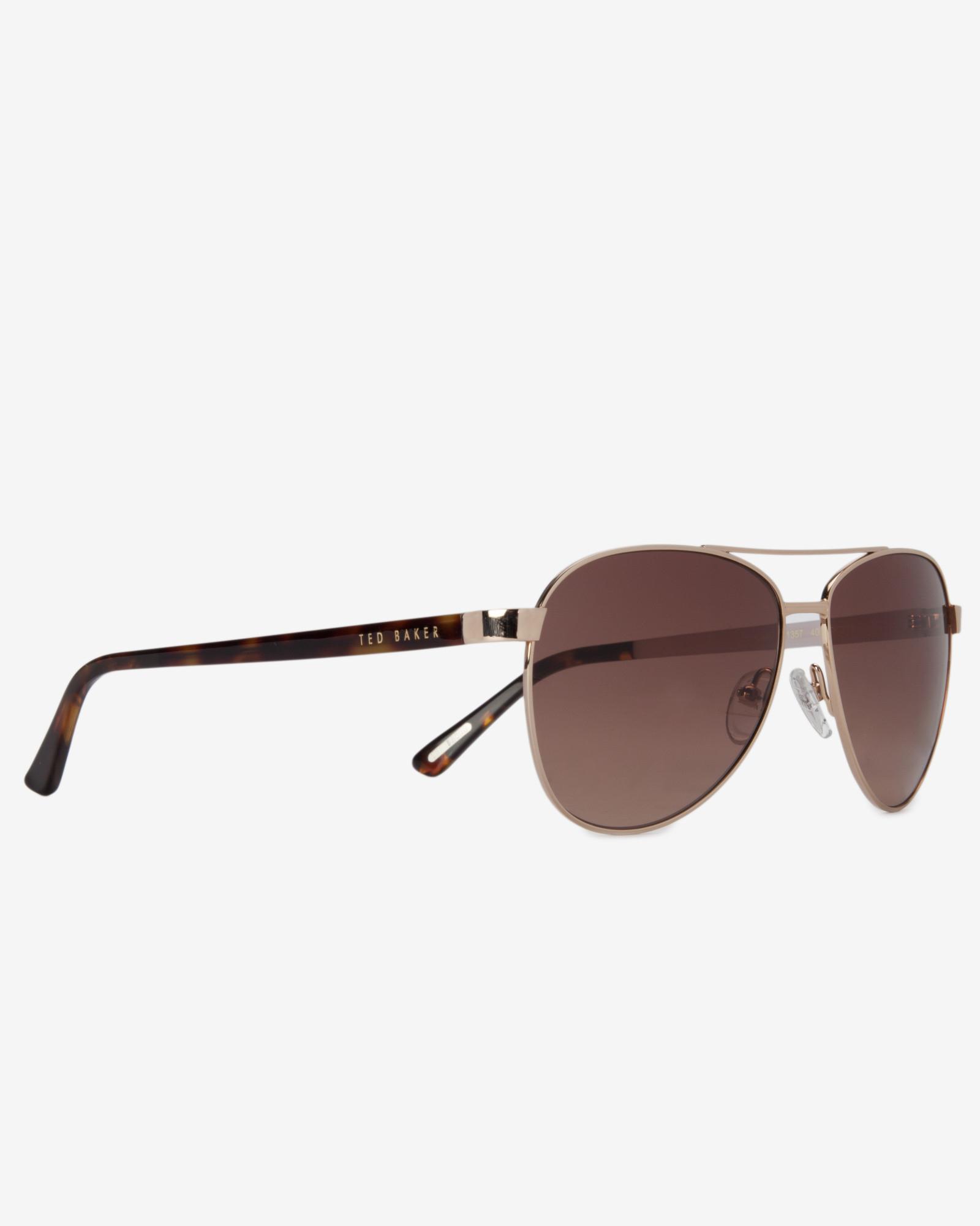 a47a899e9f5 Ted Baker Aviator Sunglasses in Metallic - Lyst