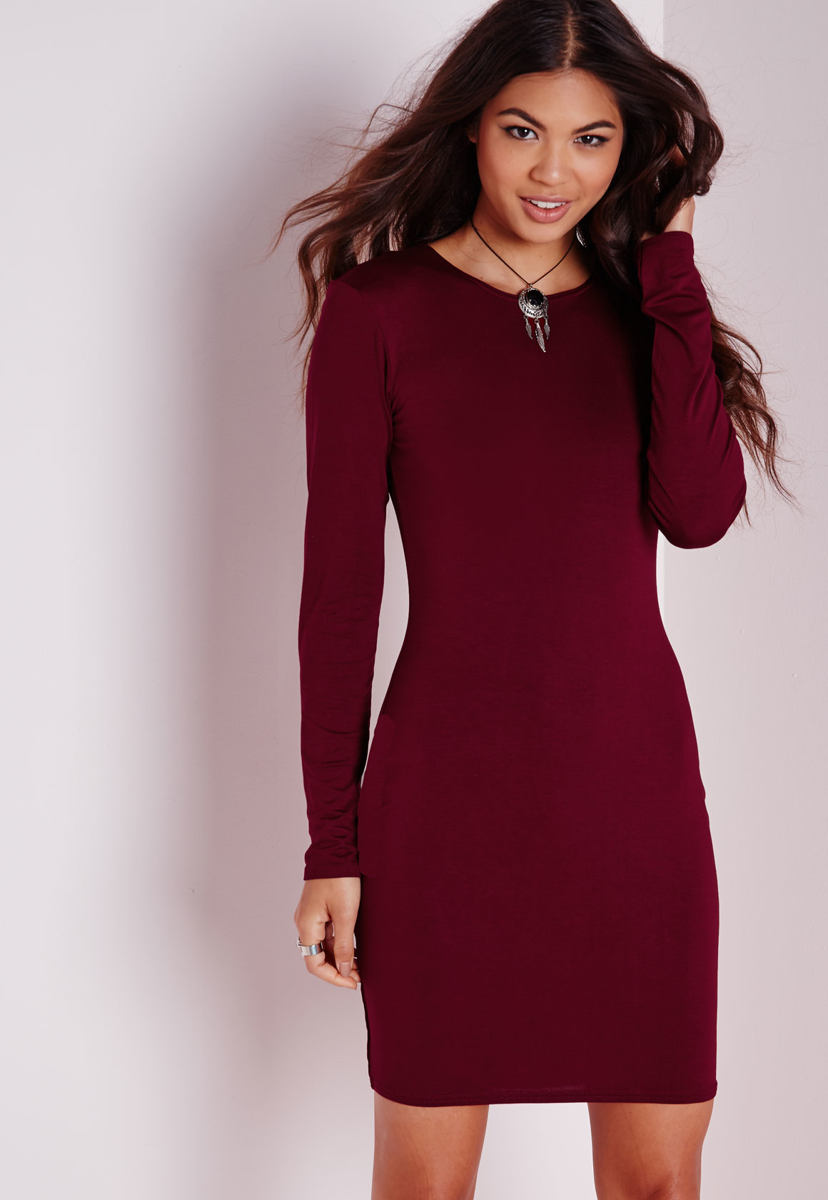 missguided long sleeve jersey bodycon dress burgundy in red lyst. Black Bedroom Furniture Sets. Home Design Ideas