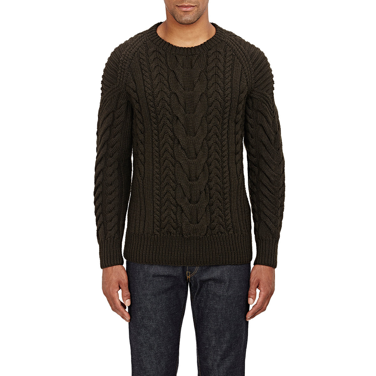 Ralph lauren black label Chunky Cable-knit Sweater in Green for ...
