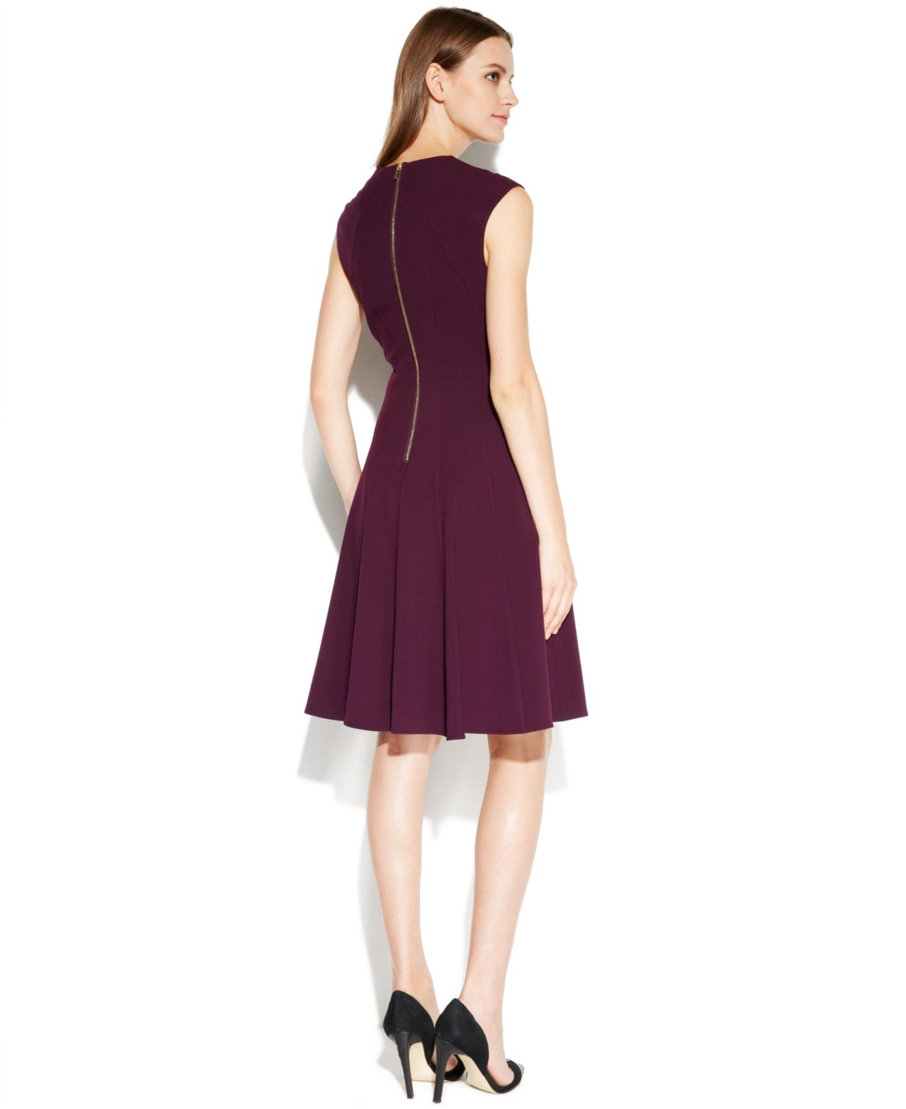 Lyst Calvin Klein Cap Sleeve Fit Amp Flare Dress In Purple