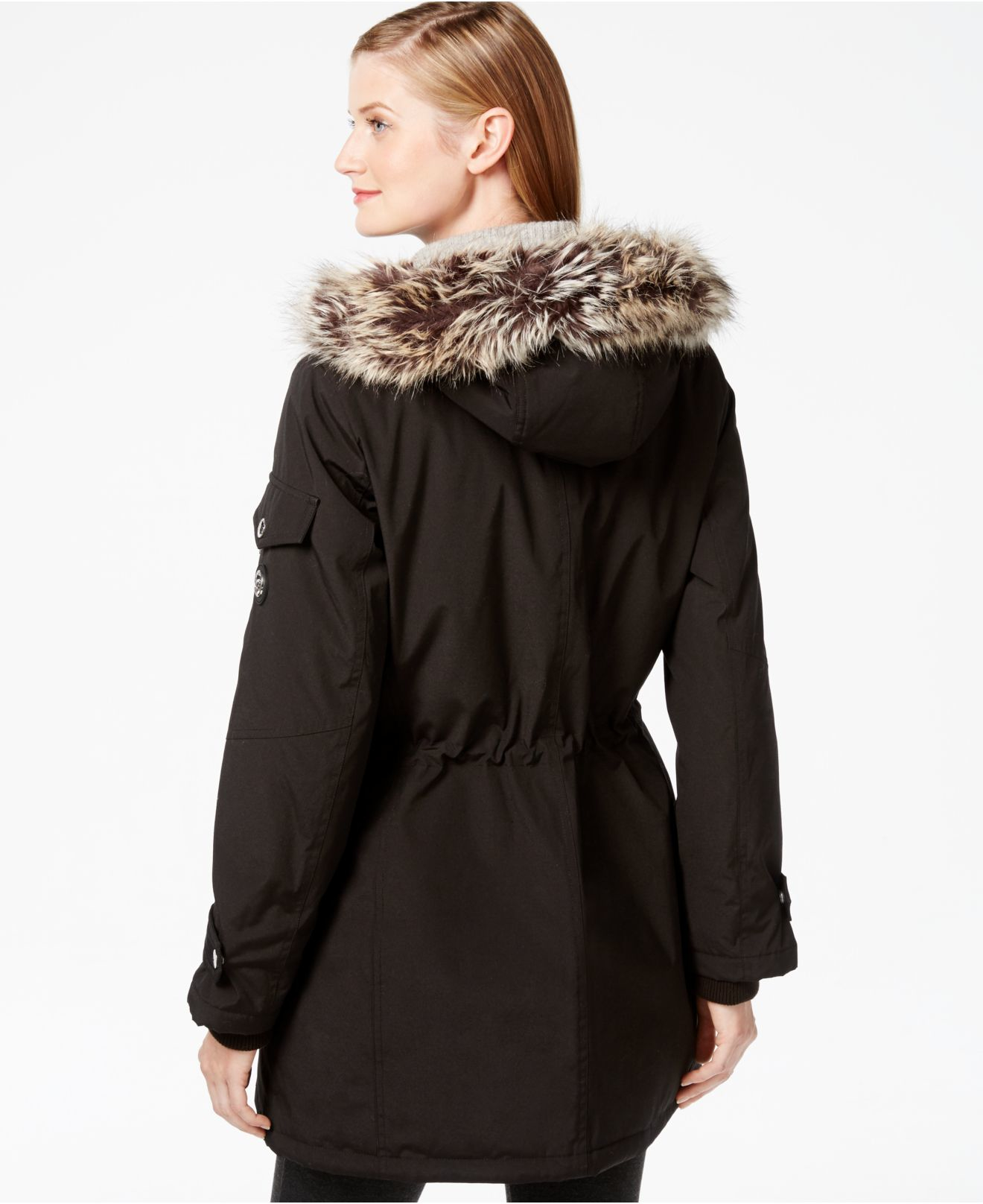 London fog Faux-fur-trim Hooded Parka in Black | Lyst