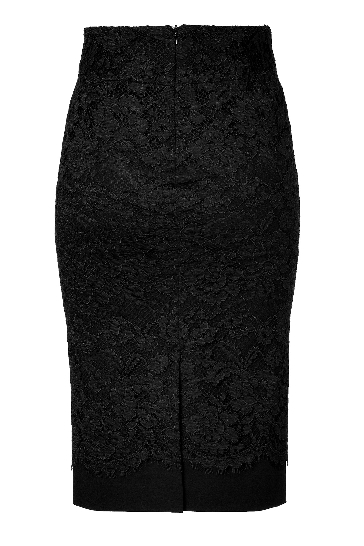 ermanno scervino pencil skirt with lace overlay in black