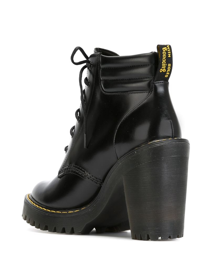 Dr. martens Chunky-Heel Lace-Up Leather Boots in Black | Lyst