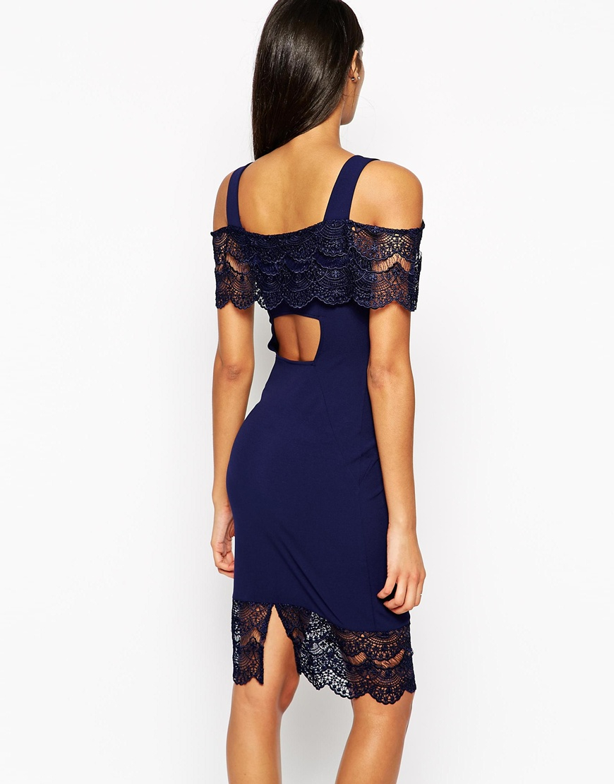 64b197f132 Lyst - Lipsy Off The Shoulder Bodycon Dress With Lace Detail in Blue