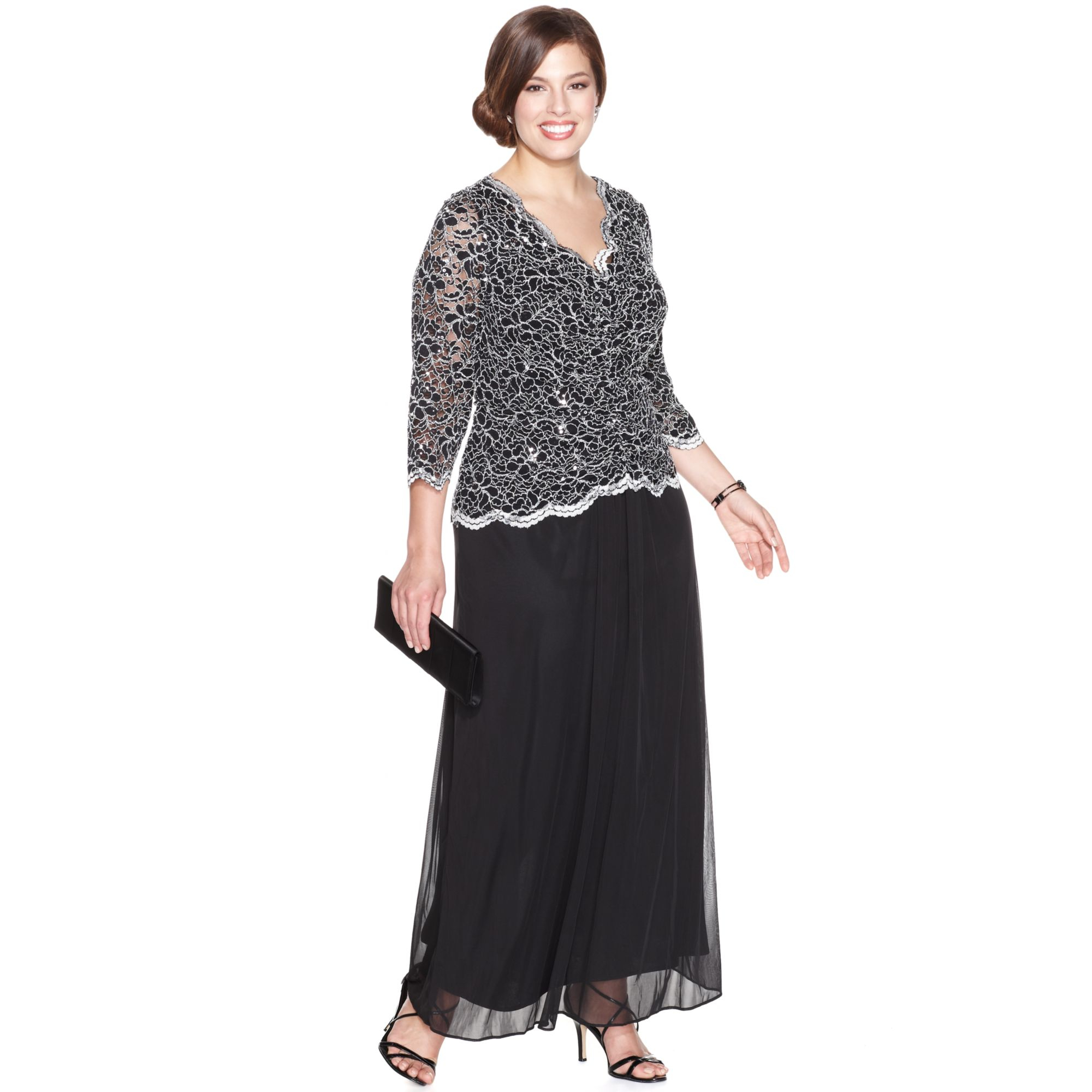 alex evenings plus size sequin lace dress in black | lyst