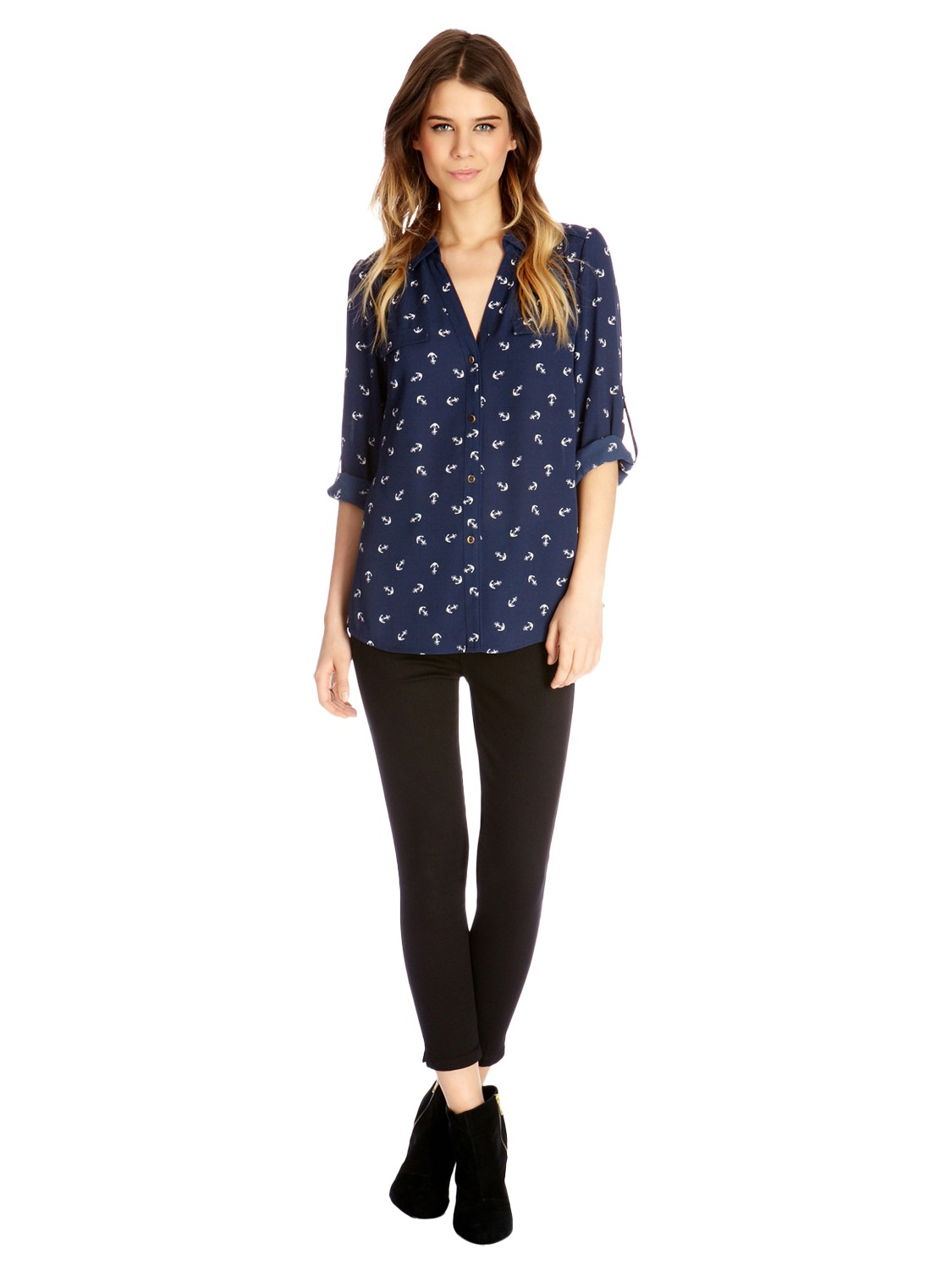f5ac1d62bae5 Oasis Anchor Print Shirt in Blue - Lyst