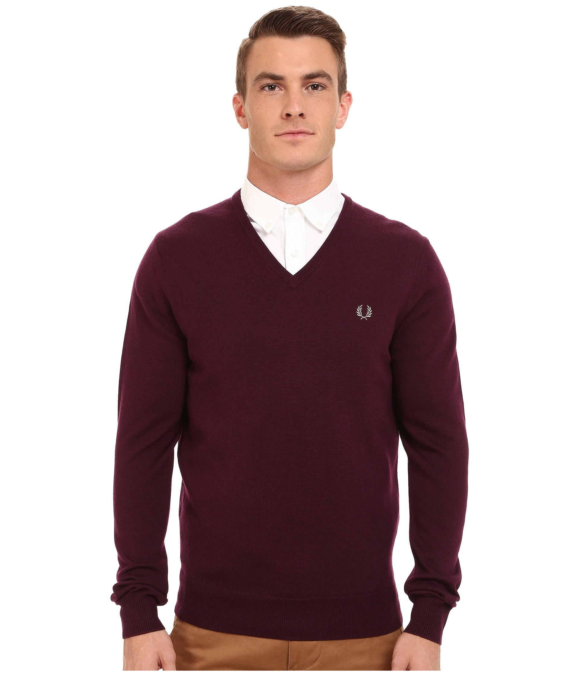 Fred perry Classic V-neck Sweater in Brown for Men | Lyst