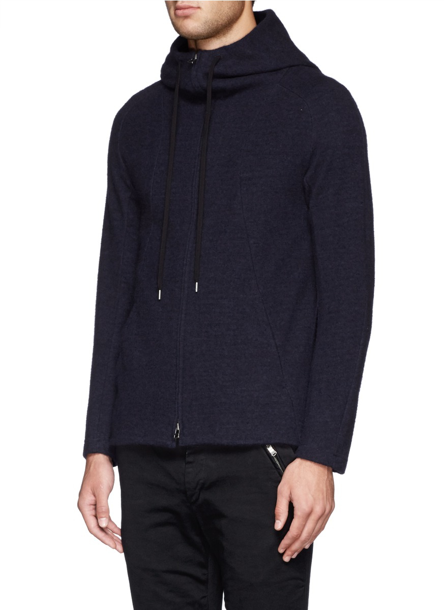 The viridi-anne Wool And Cotton Zip Up Hoodie in Blue for Men | Lyst
