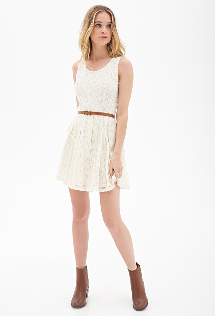 Lyst Forever 21 Belted Crochet Lace Dress In White