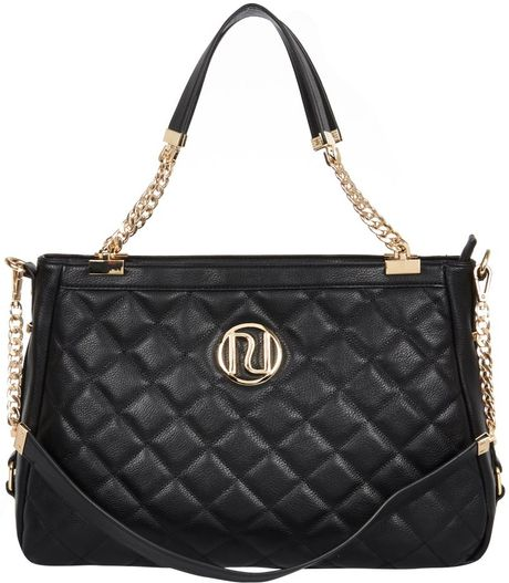 Black Quilted Weekend Bag River Island