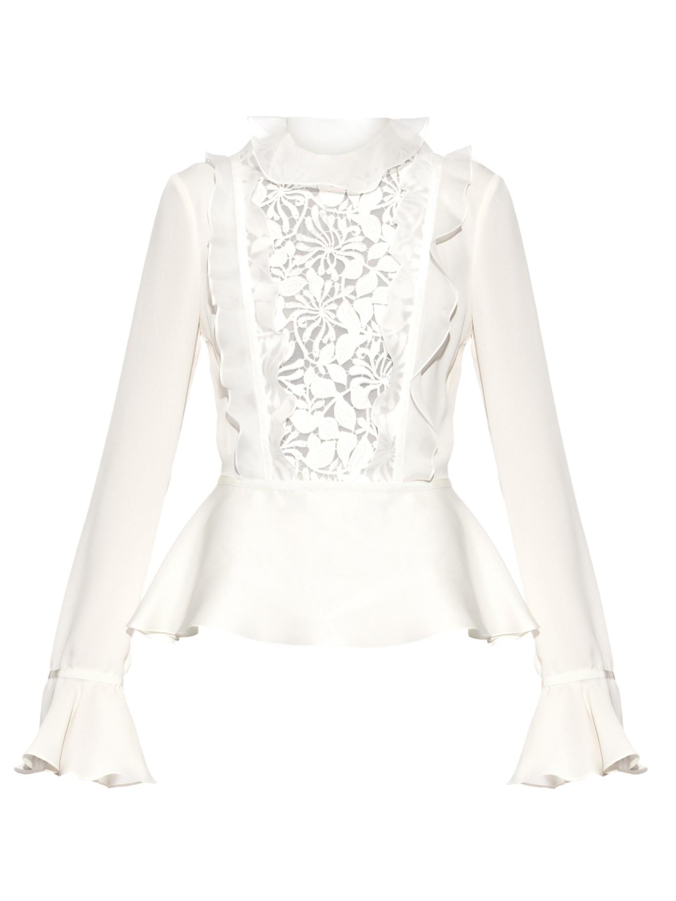 4feb862bf62f8e Lyst - Giambattista Valli Floral Macramé-lace Silk Blouse in Natural