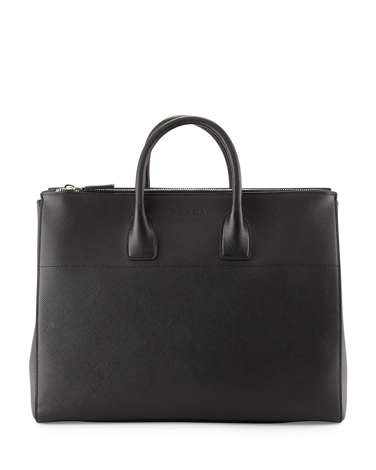 Prada Men's Saffiano Zip-top Shopper Bag in Black | Lyst