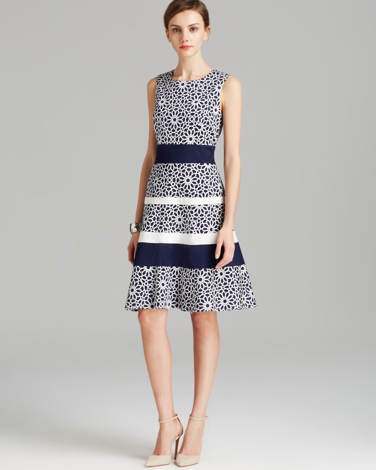 408133a243 anne klein clothes Lyst - Anne Klein Dress Sleeveless Print Swing Fit and  Flare in Blue