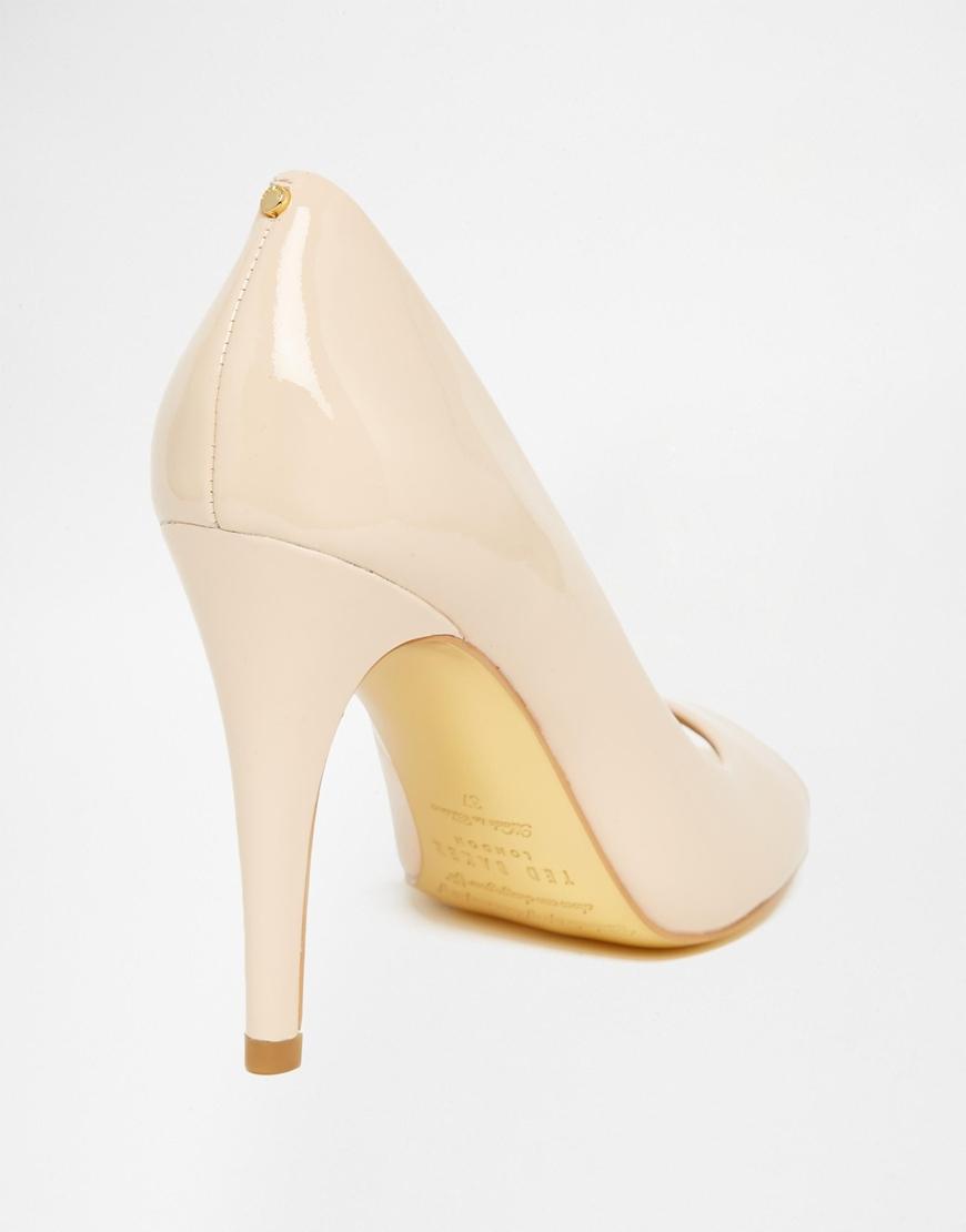 Nude Patent Peep Toe Heels