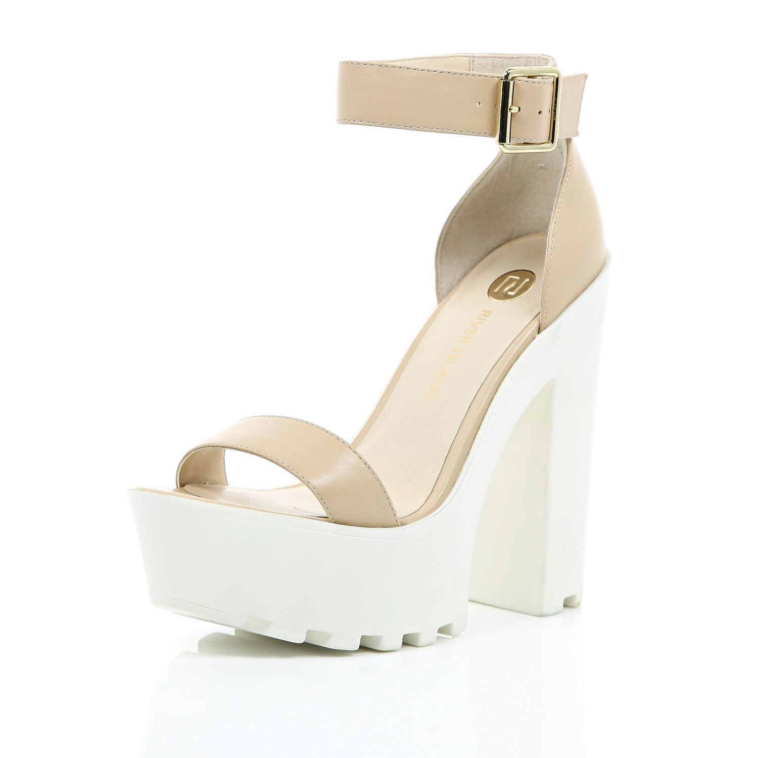 19118ada3d3 River Island Nude Leather Chunky Cleated Sole Platforms in Natural ...