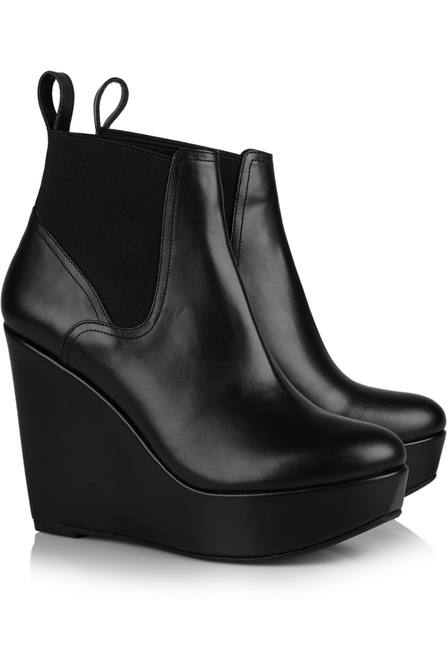 77596b2d599d Robert Clergerie Fille Leather Wedge Ankle Boots in Black - Lyst