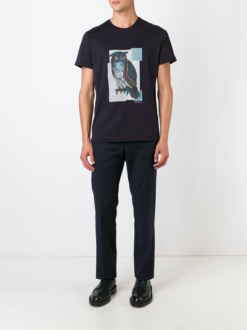 Ferragamo Owl Print T-shirt in Blue for Men - Lyst