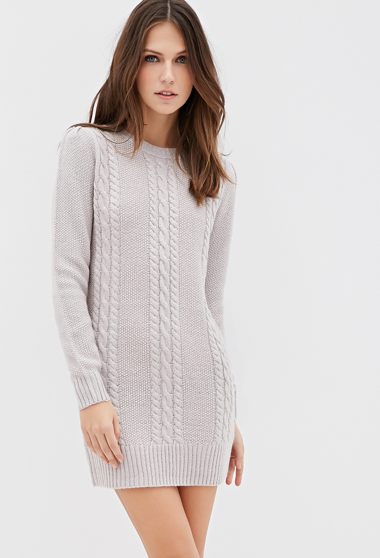 caedeb47da5 Forever 21 Cable Knit Sweater Dress in Gray - Lyst