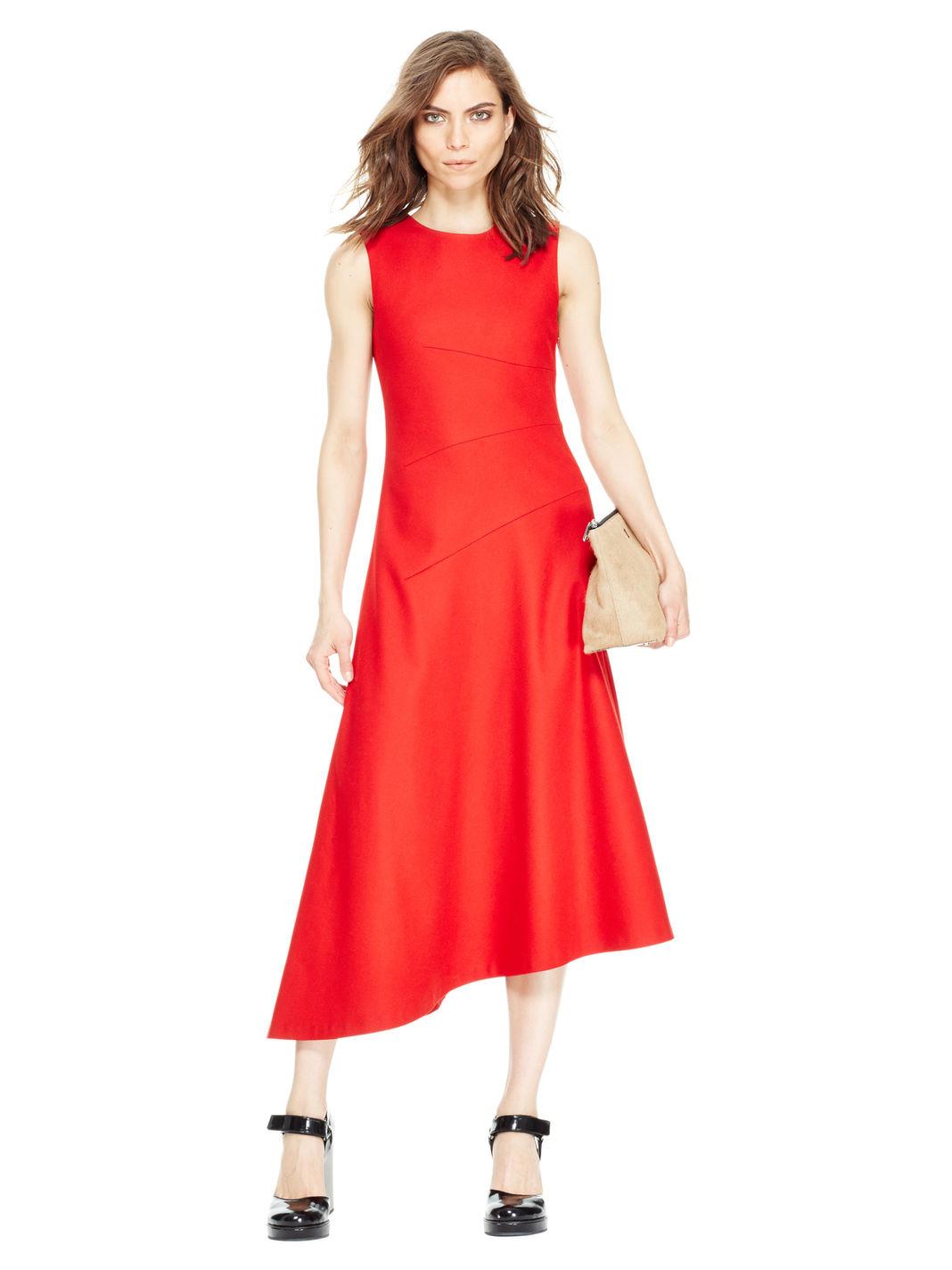 lyst dkny asymmetrical hem dress in red. Black Bedroom Furniture Sets. Home Design Ideas