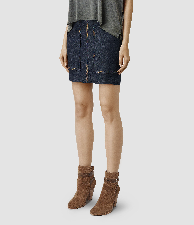 Allsaints Ella Denim Skirt in Blue | Lyst