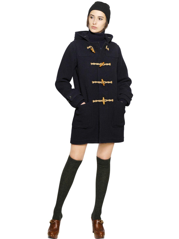 Lyst Polo Ralph Lauren Boiled Wool Blend Duffle Coat In Blue