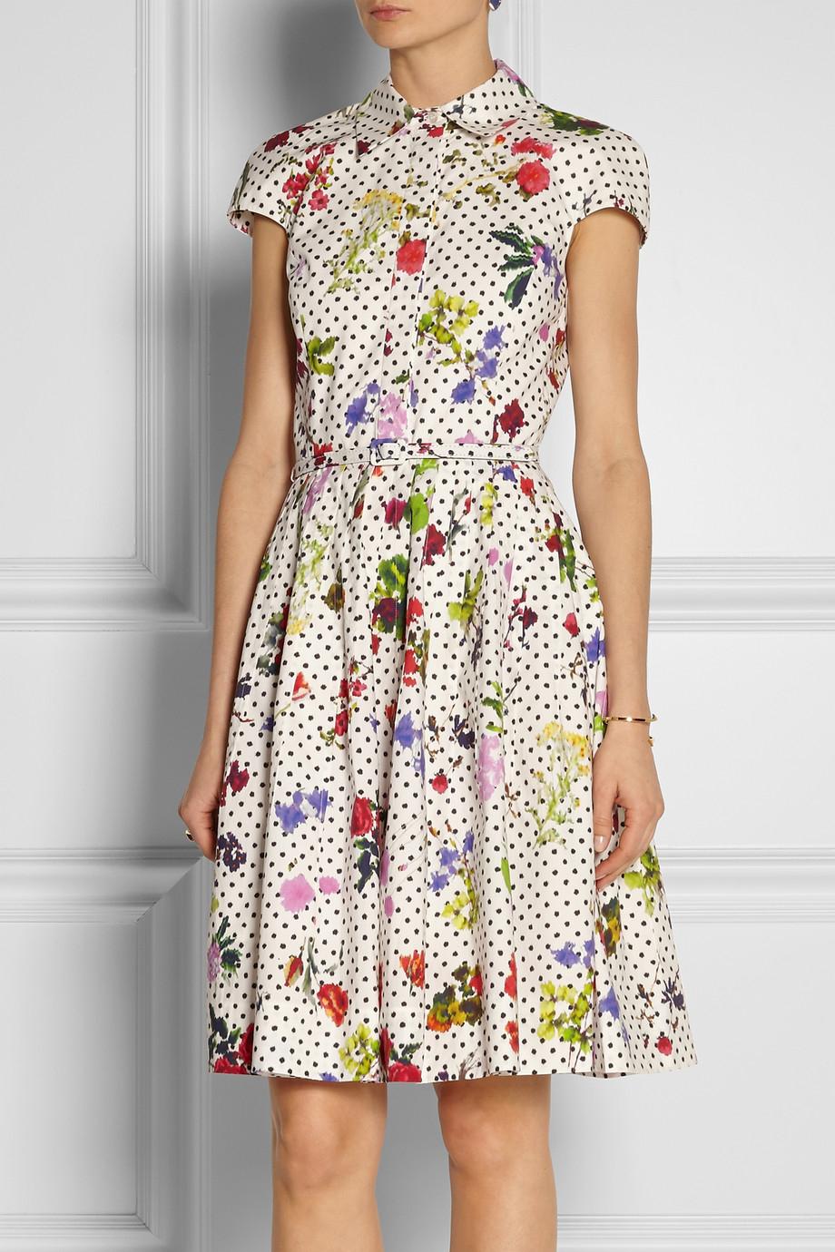 Lyst Oscar De La Renta Floral And Dotprint Cotton Shirt