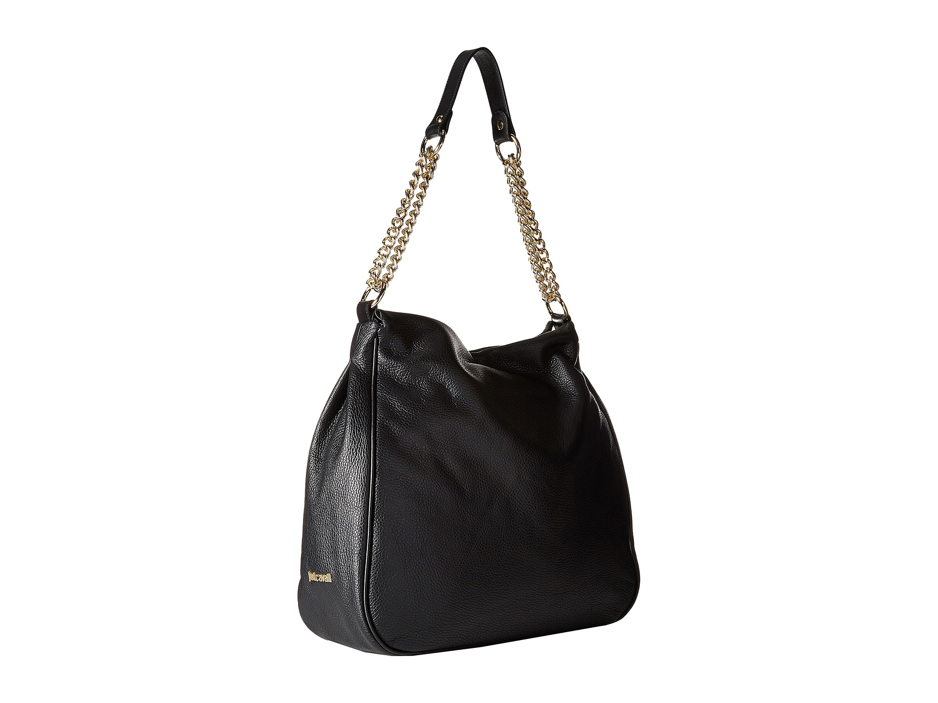 Just cavalli Fringe Hobo Shoulder Bag in Black | Lyst