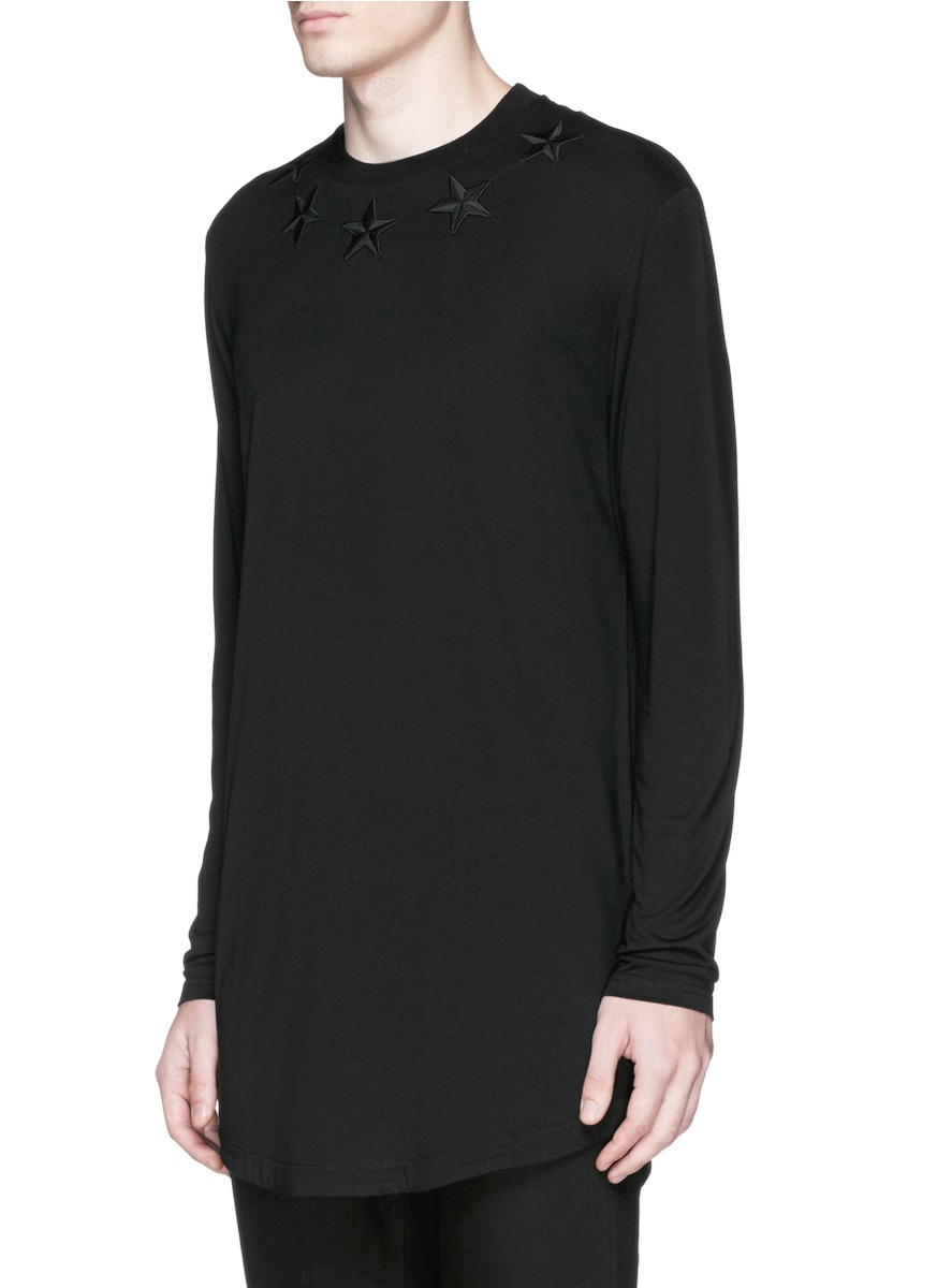 givenchy star embroidery long sleeve t shirt in black for