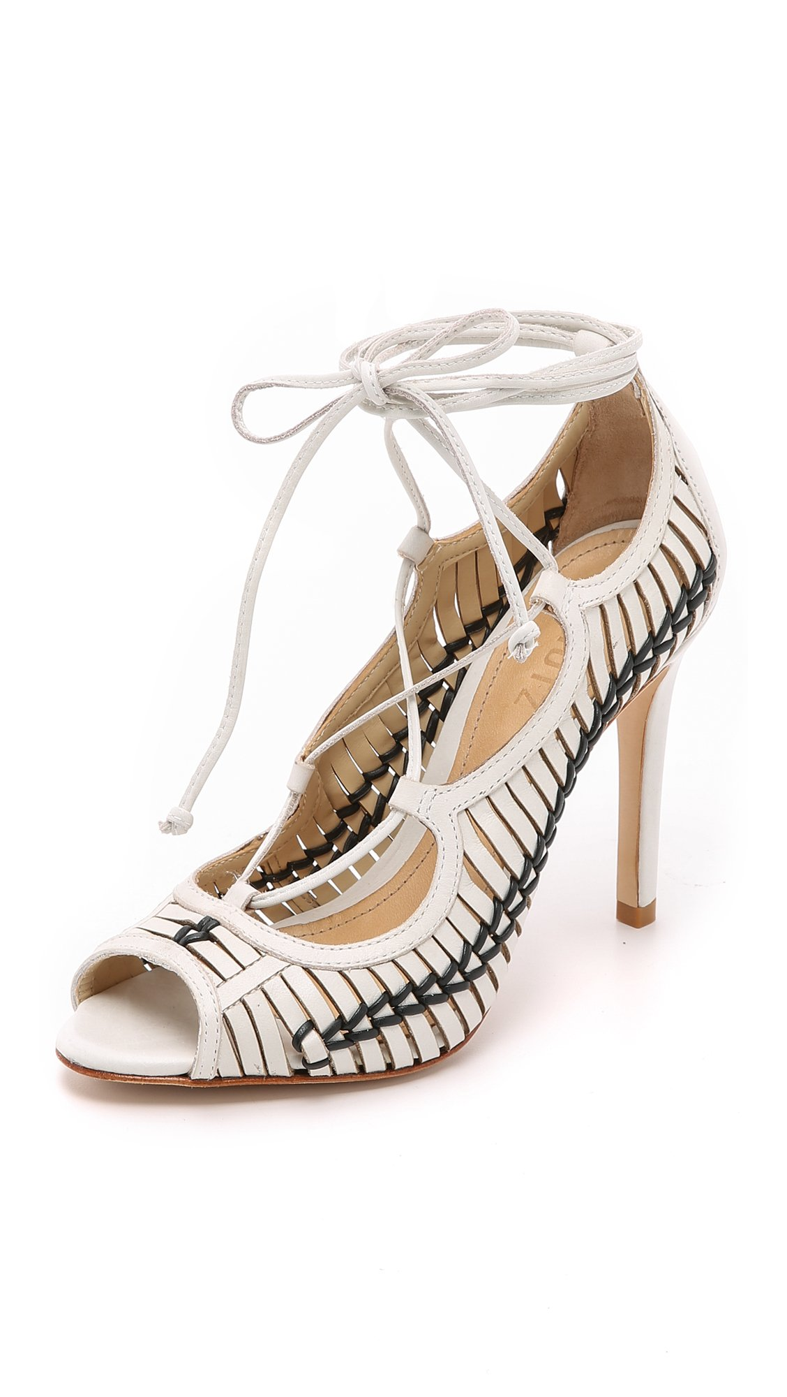 Schutz Mattie Lace Up Sandals Pearl Black In White Lyst