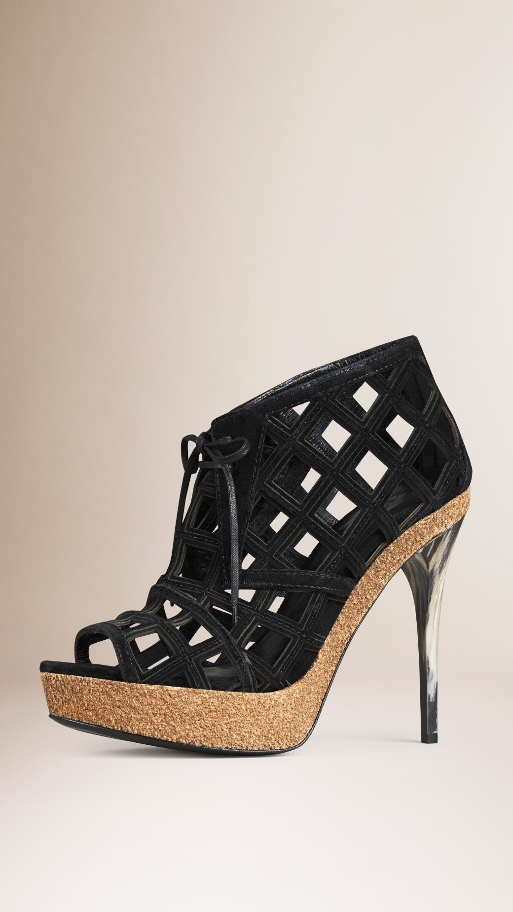 burberry cut out suede ankle boots in black lyst