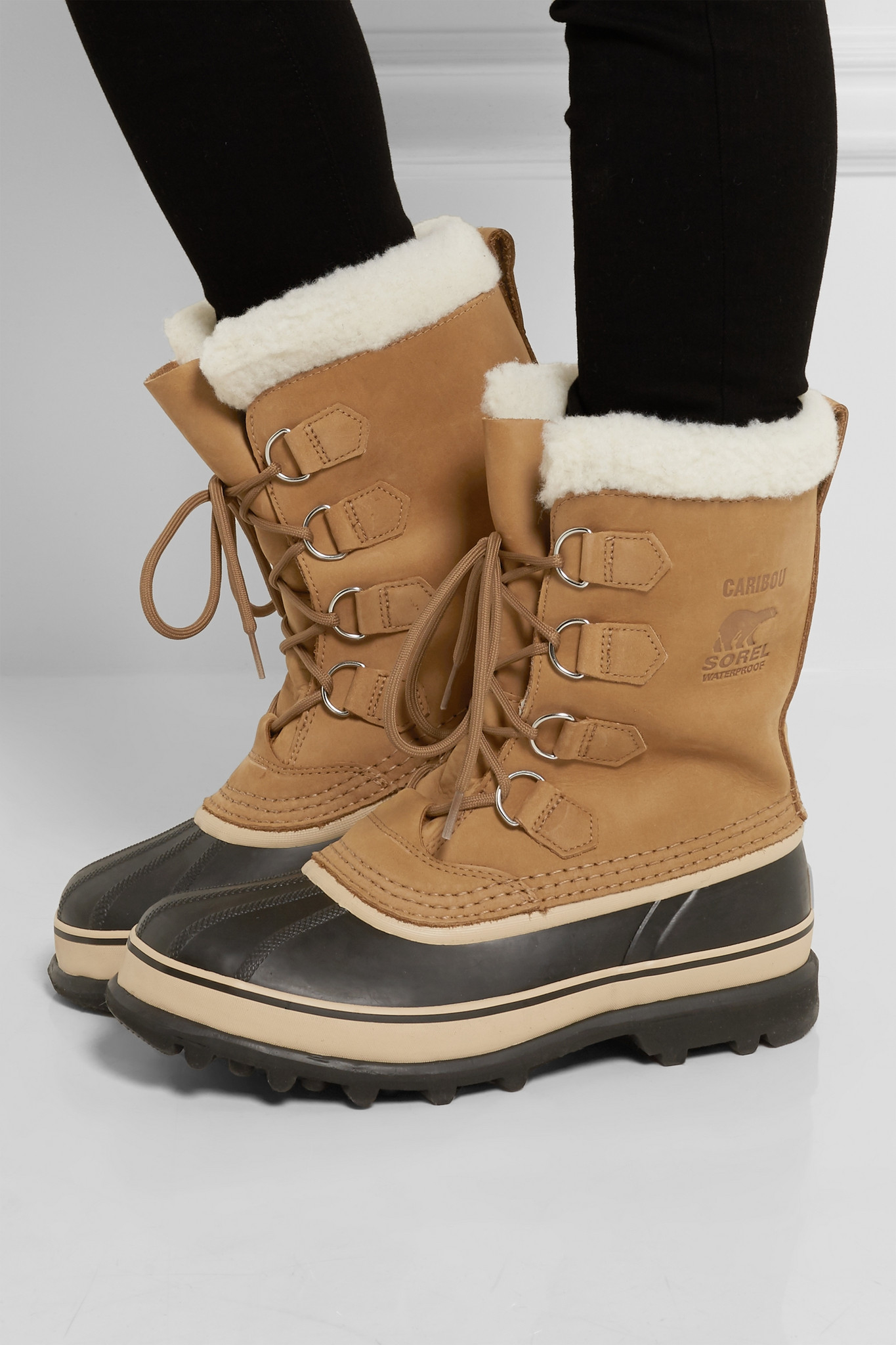 sorel caribou waterproof suede and rubber boots in brown