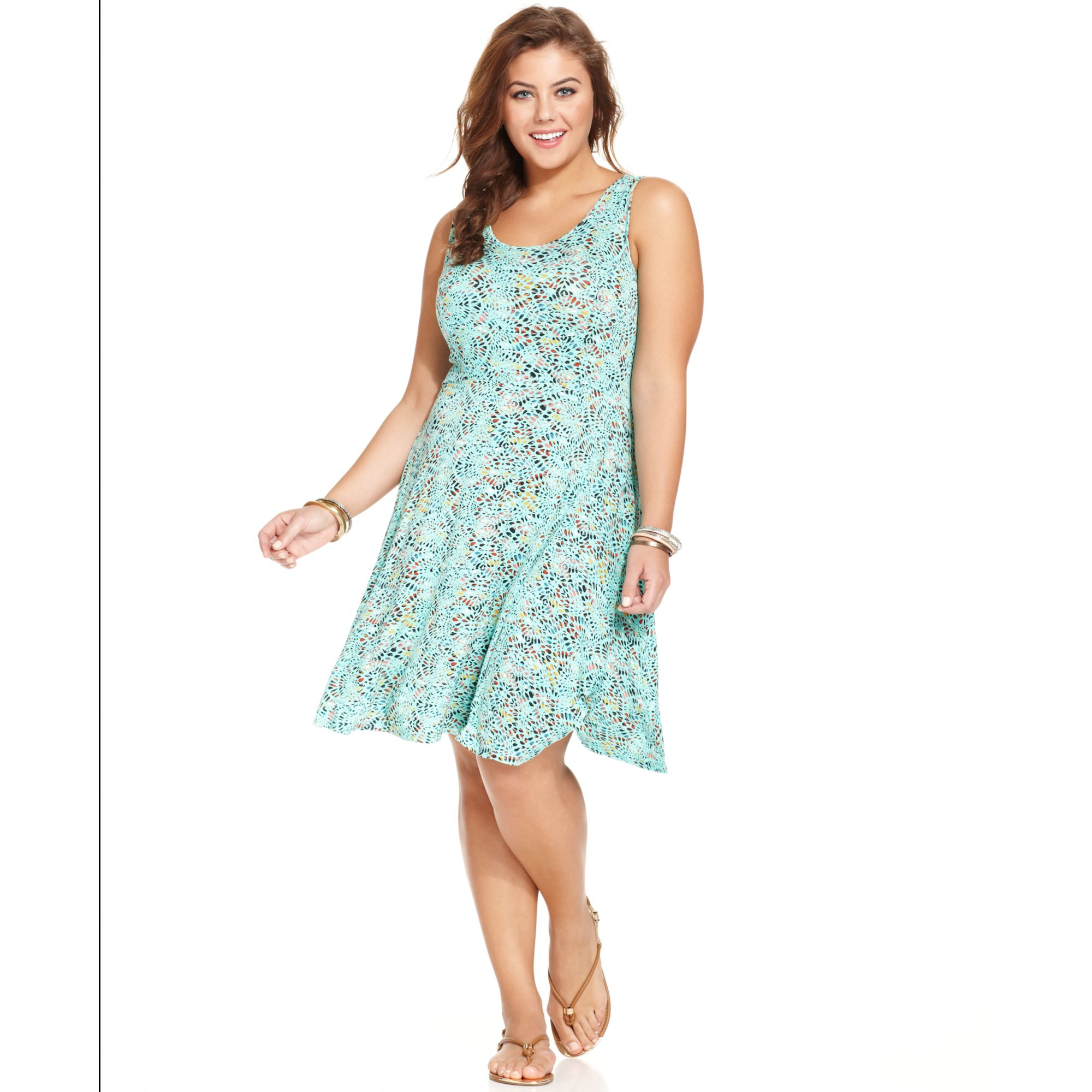 American Rag Plus Size Sleeveless Printed Skater Dress in ...