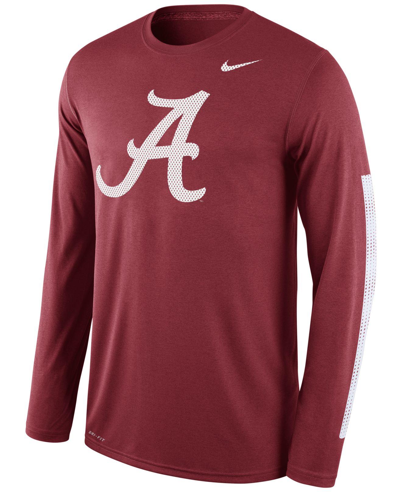 Lyst nike men 39 s long sleeve alabama crimson tide legend for Alabama crimson tide tee shirts