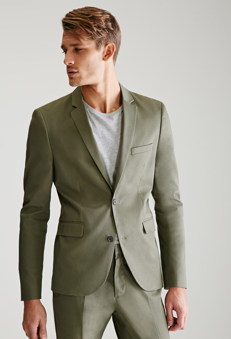 Lyst Forever 21 Two Button Chino Suit Jacket In Green For Men