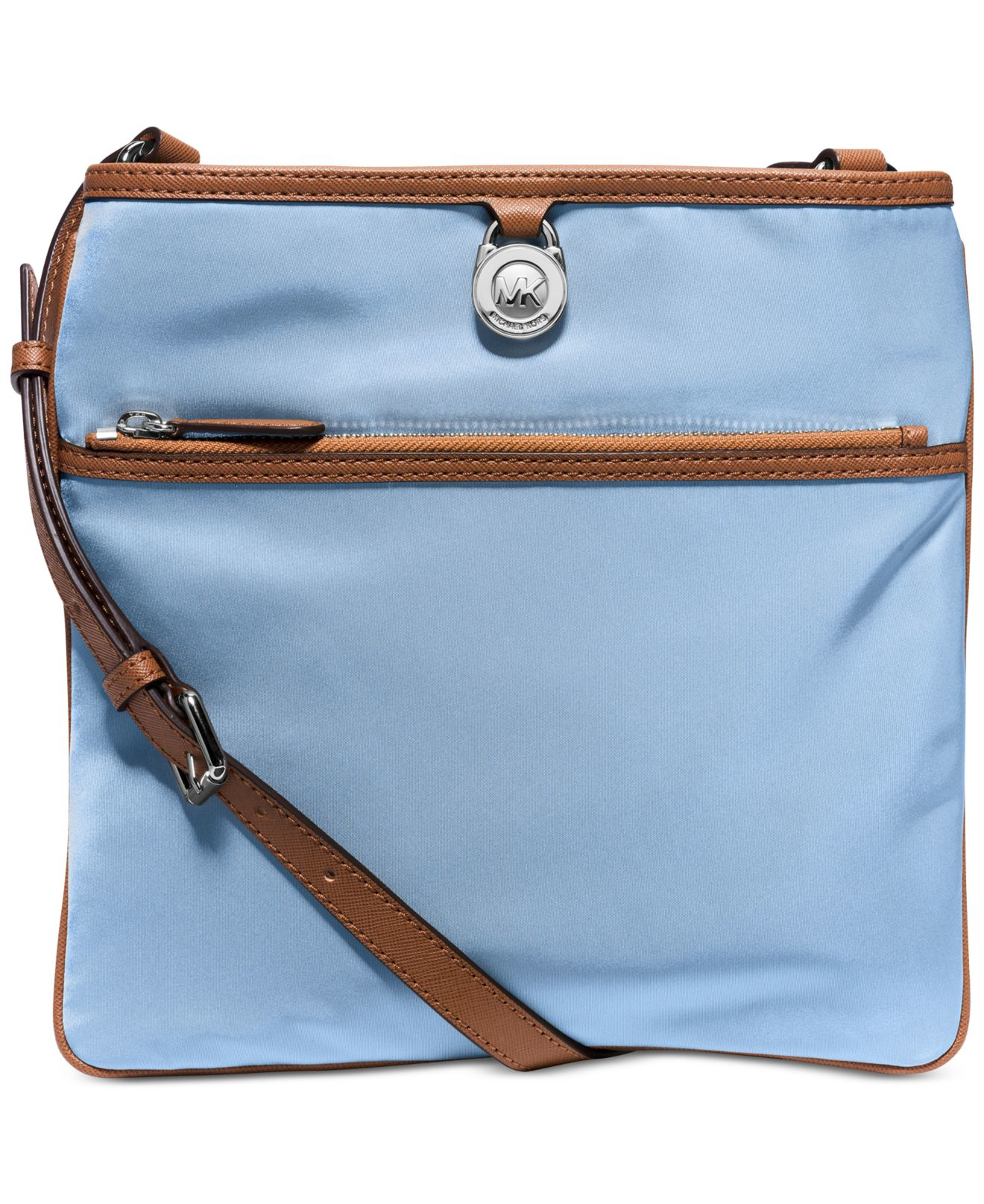 3f1e70ab85a5 ... good lyst michael kors michael kempton large pocket crossbody in blue  174b1 ae153