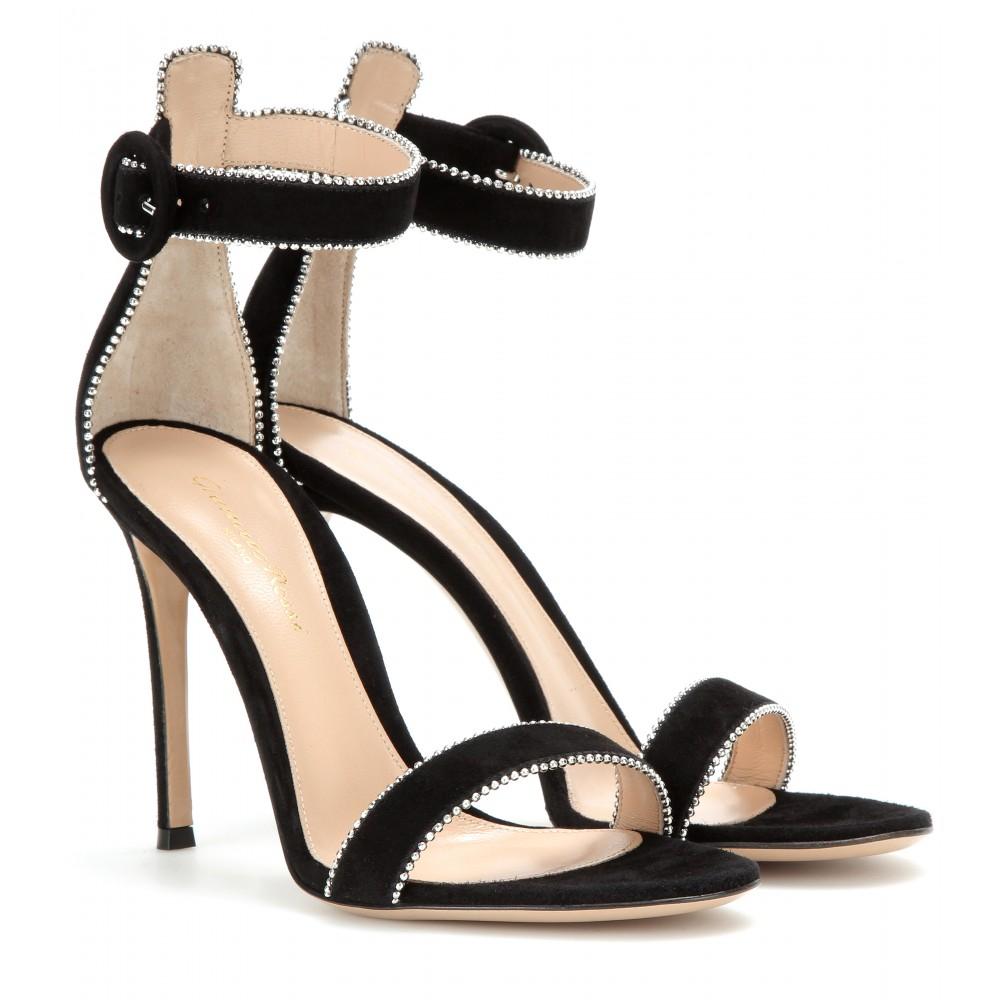 Lyst Gianvito Rossi Portofino Suede Sandals In Black
