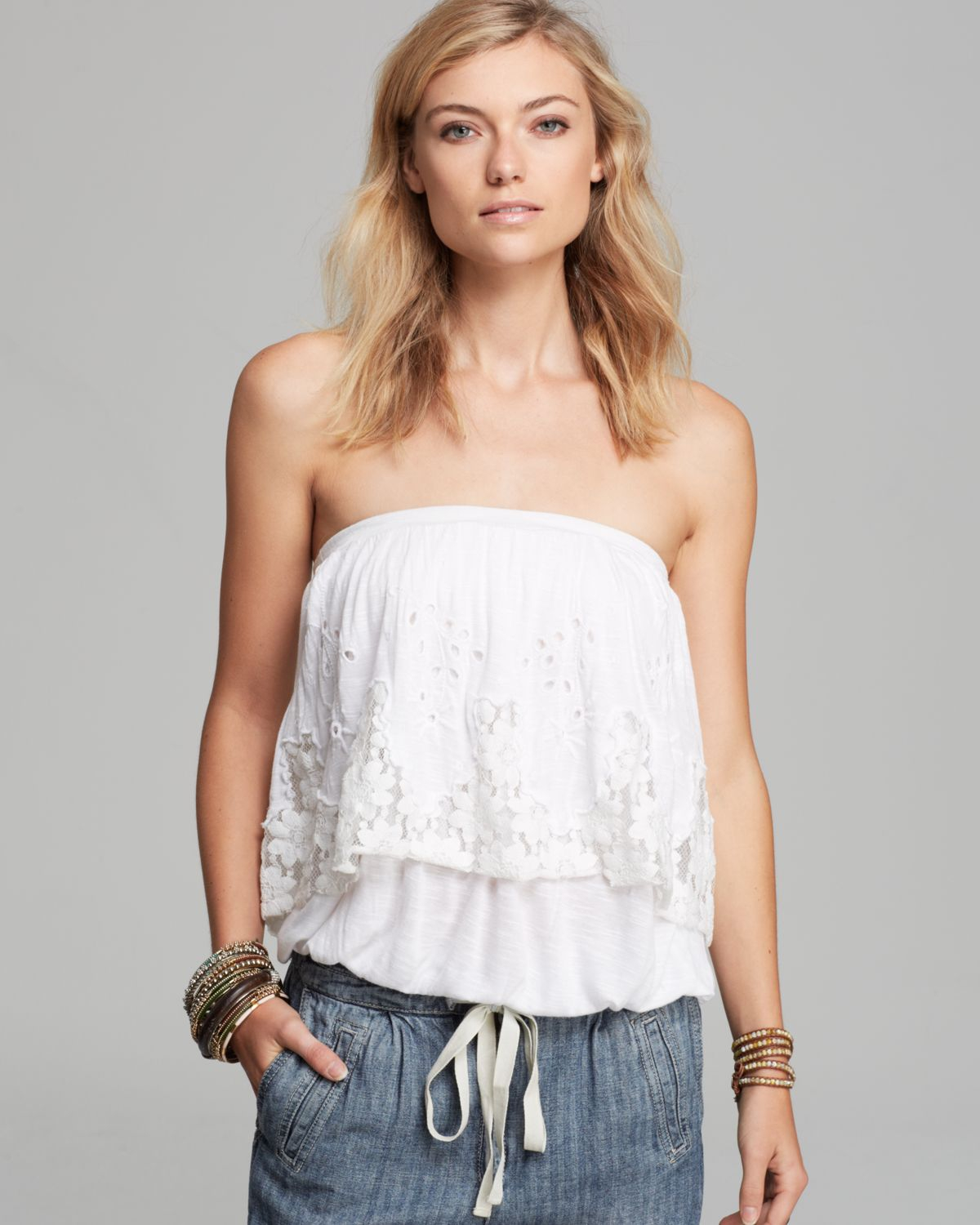 bb9f1557d0 Lyst - Free People Tube Top Bridgette Lace in White