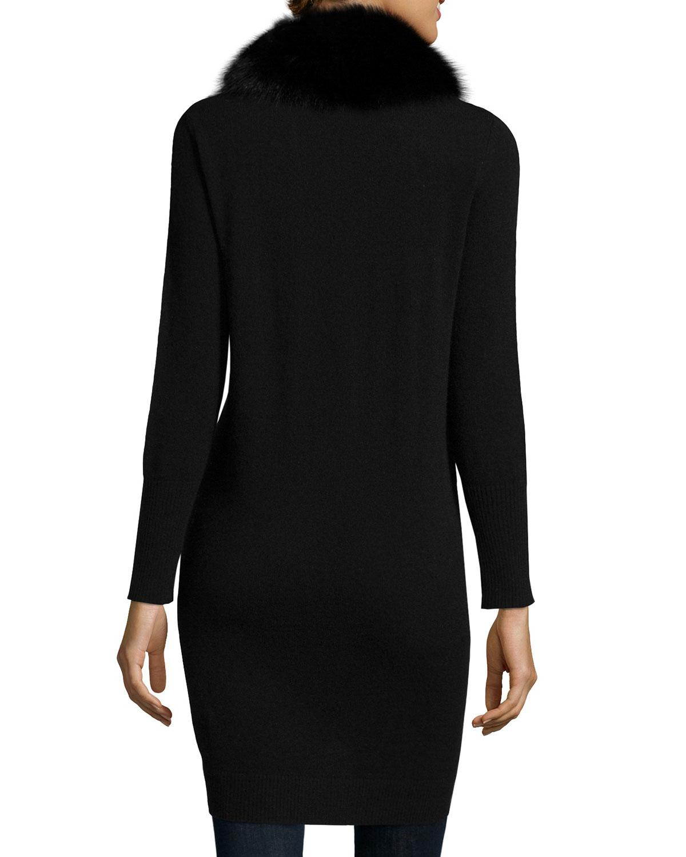 neiman marcus fur trim cashmere cardigan in black lyst. Black Bedroom Furniture Sets. Home Design Ideas
