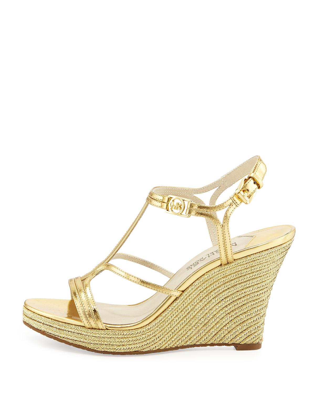 55c0d7fa747 Lyst - MICHAEL Michael Kors Cicely Wedge Sandal in Metallic