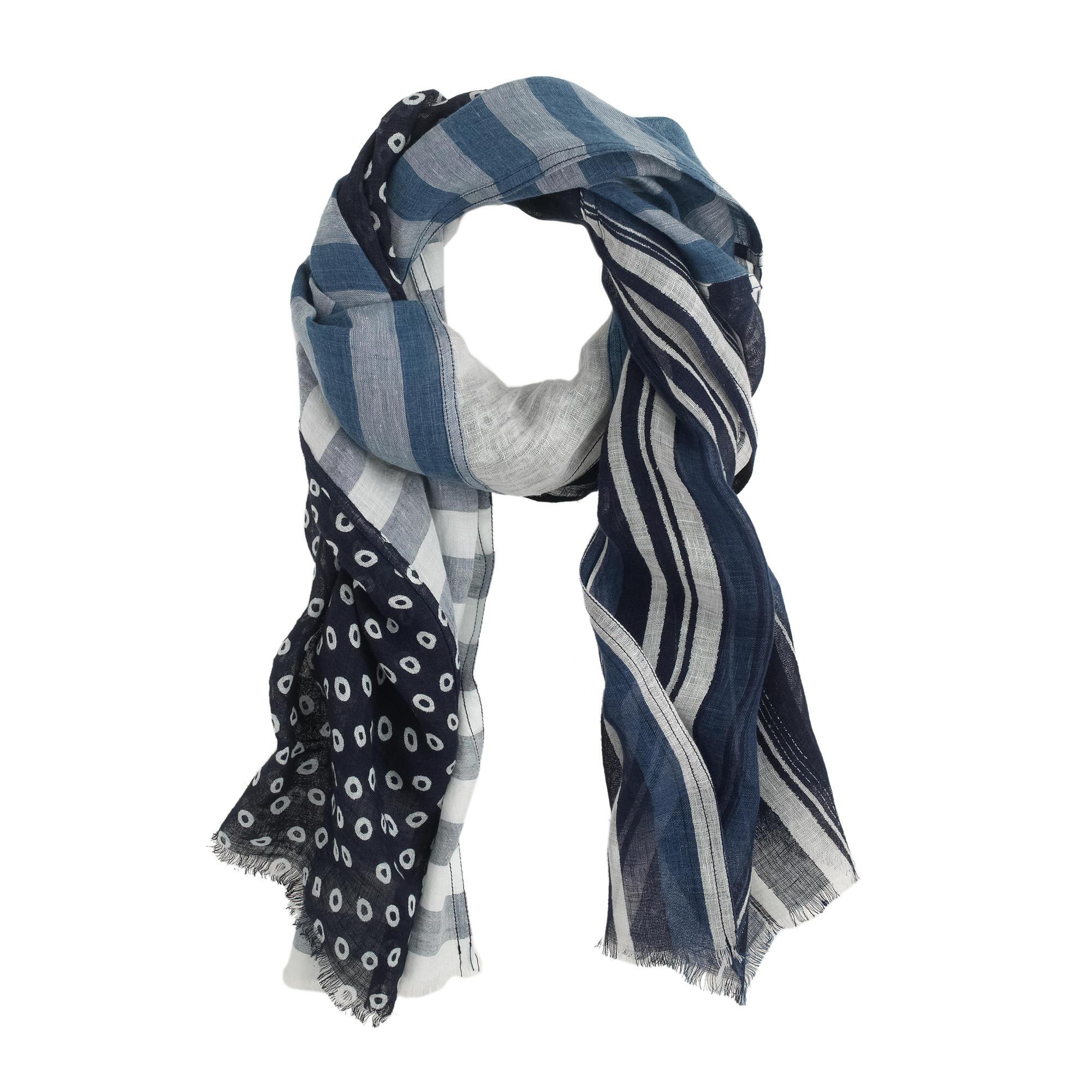 j crew indigo patch scarf in blue lyst