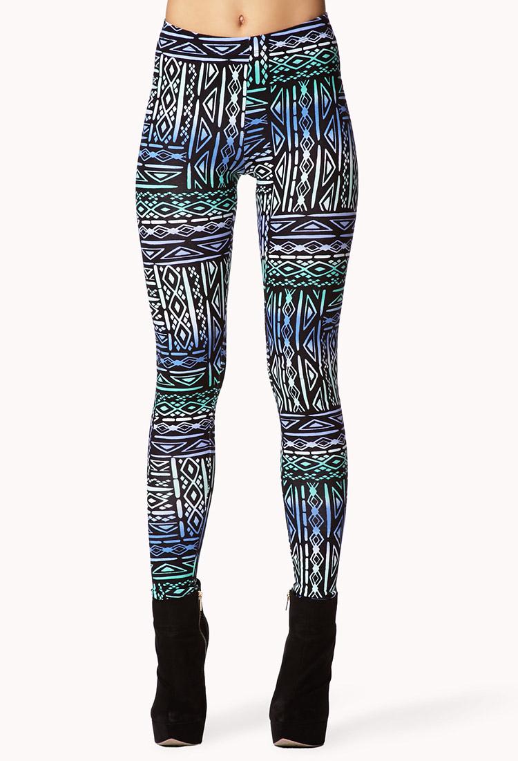 Lyst - Forever 21 Multicolored Tribal Print Leggings