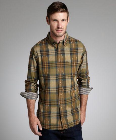 Tailor vintage pale olive plaid cotton button down shirt for Green plaid button down shirt