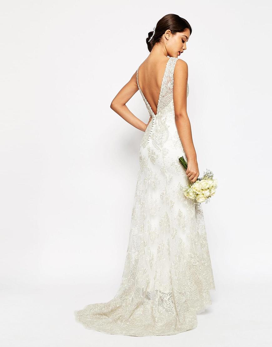 asos bridal vintage lace button back fishtail maxi dress