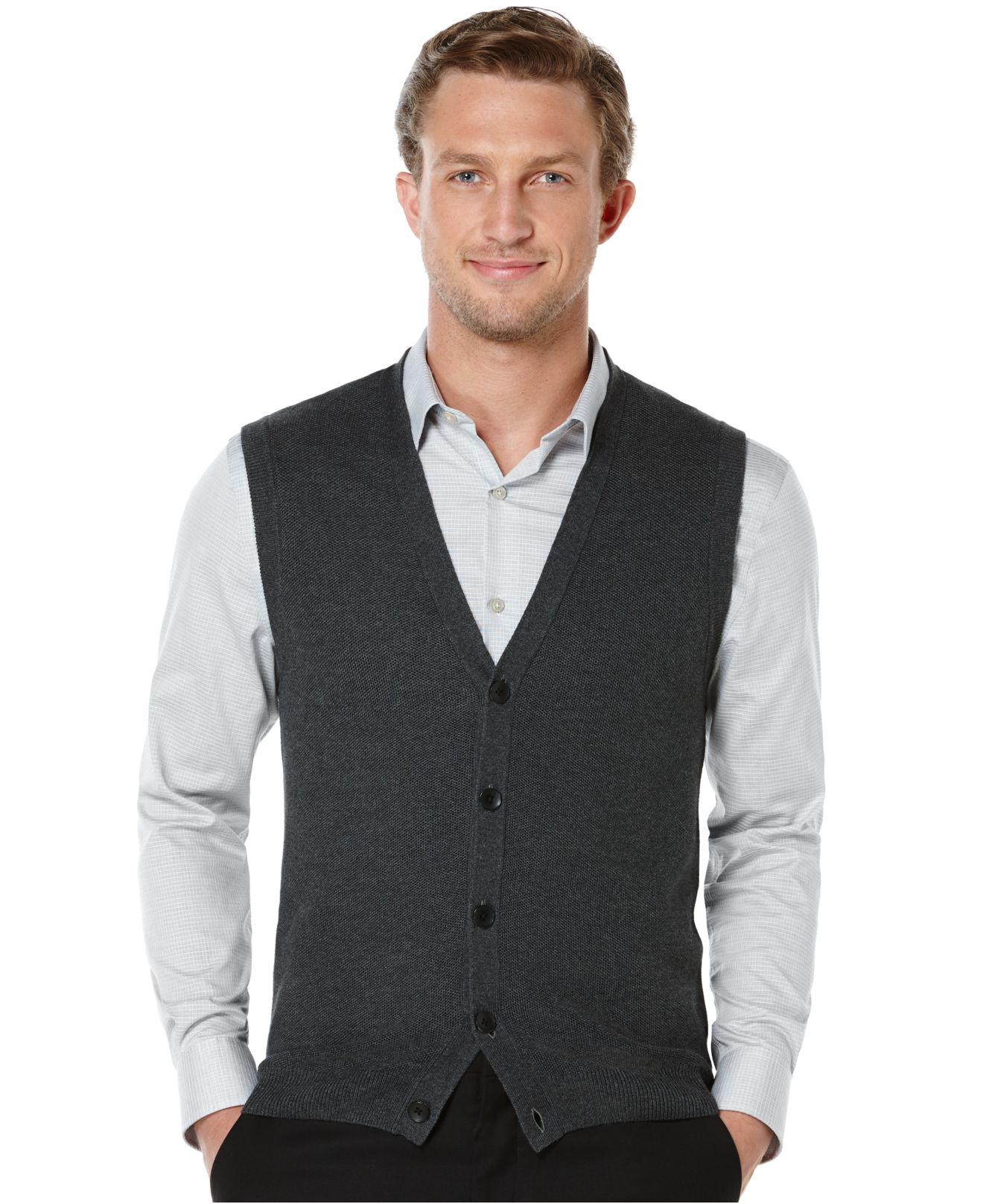 f8b92f09f4 Lyst - Perry Ellis Solid Textured Sweater Vest in Gray for Men